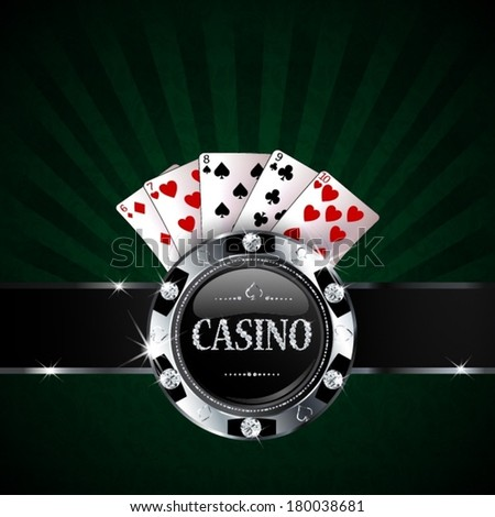 casino chip with cards on green background - stock vector