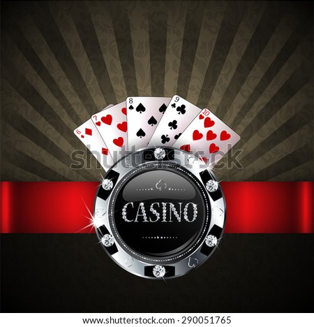casino chip with poker cards