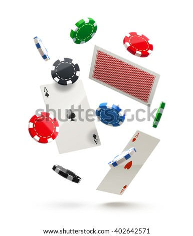 casino chips and cards isolated on white in air realistic theme - stock vector