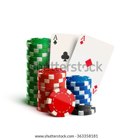 casino chips and cards isolated on white realistic theme - stock vector