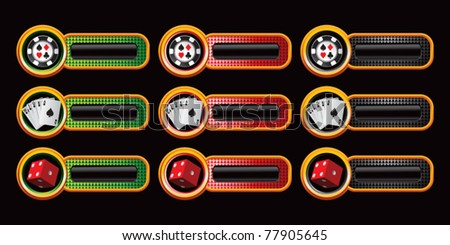 casino chips, cards, and red dice in multiple colored banners - stock vector