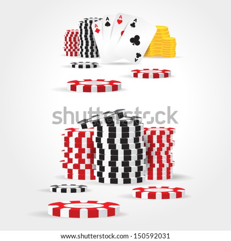 casino chips money cards game set - stock vector