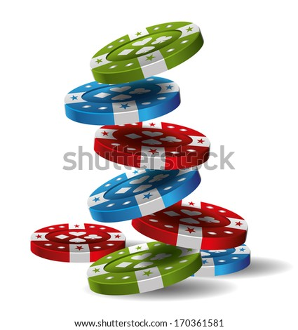 Casino Chips on white background - stock vector