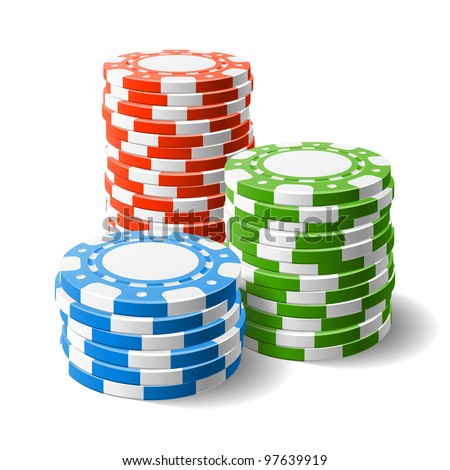 Casino chips stacks. Vector. - stock vector