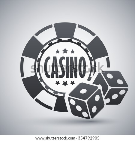 Casino chips with two dices, vector icon