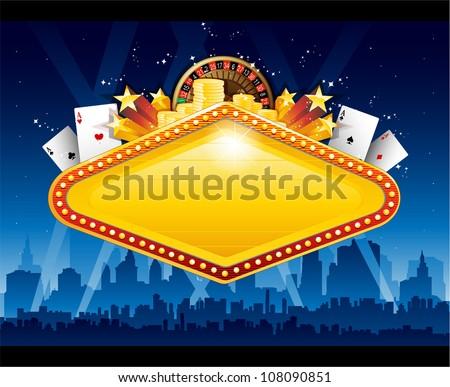Casino city background - stock vector