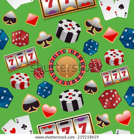 Casino color design elements with gambling poker roulette seamless pattern vector illustration