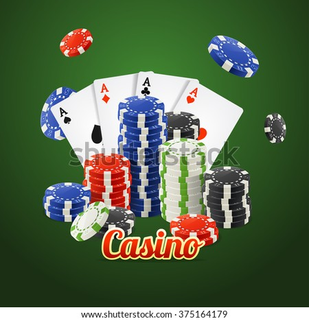 Casino Concept. Cards and Chips on Green. Vector illustration - stock vector