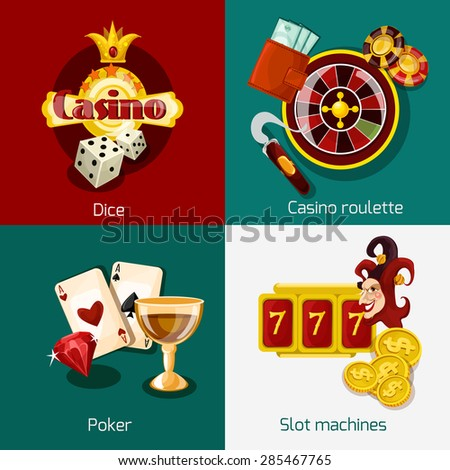 Casino design concept set with dice roulette poker slot machine icons isolated vector illustration - stock vector