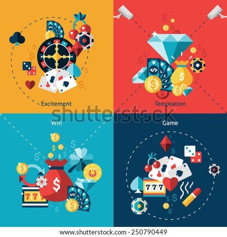 Casino design concept set with excitement temptation win game flat icons isolated vector illustration - stock vector