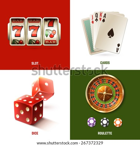 Casino design concept set with realistic slot cards dice and roulette isolated vector illustration - stock vector