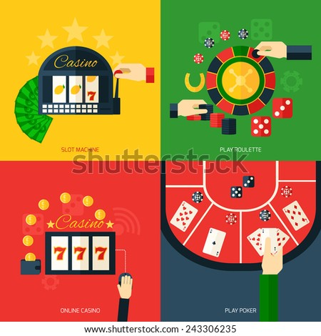 Casino design concept set with slot machine play roulette online poker icon flat isolated vector illustration - stock vector