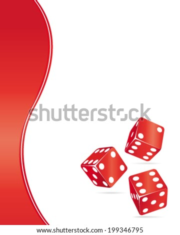 Casino design elements. Red dices vector background. - stock vector