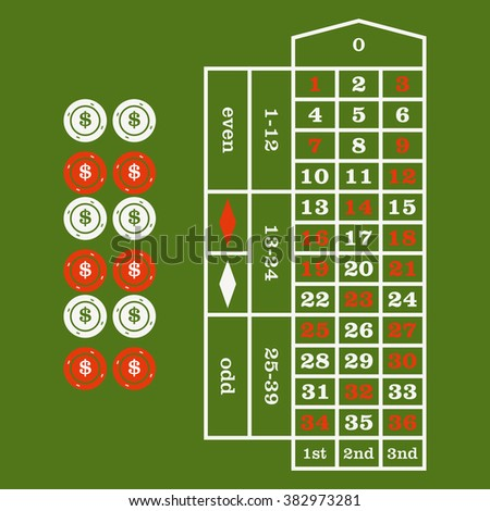 Casino  design elements vector icons. Casino games.Ace playing cards with chips on green background.Set of gambling chip.