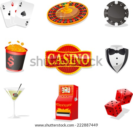 Casino design elements, with Cards, Roulette, poker Chips, Coins, Casino Sign, Suit, Drink, Slot Machine and Dices. - stock vector