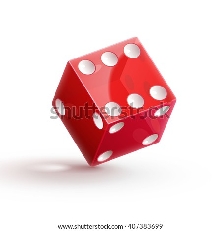 casino dice, dice icon, dice isolated on white,dice 3d object, red dice, dice with shadow. - stock vector