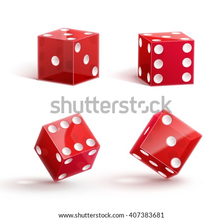 casino dice, dice icon, dice isolated on white,dice 3d object, red dice, dice with shadow, dice set. - stock vector