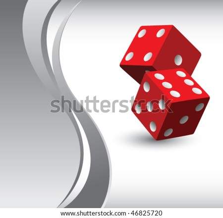casino dice vertical silver wave backdrop - stock vector