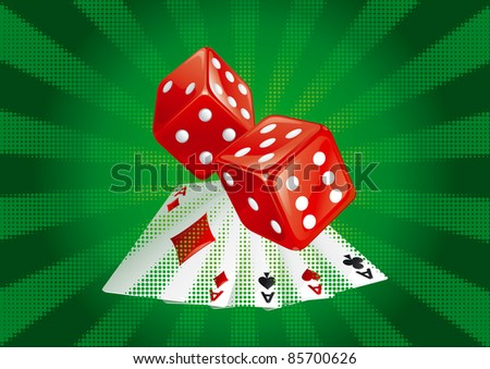 Casino dices and  cards on green rays background. There are no meshes in this image. - stock vector