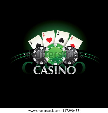 Casino element Poker cards and chips - stock vector
