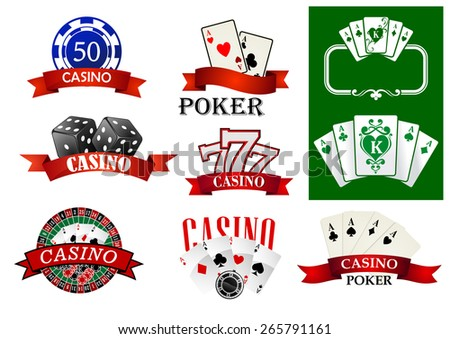 Casino emblems or badges depicting poker chips and cards, jackpot lucky seven, roulette decorated ribbon banners with text Casino or Poker for gambling or fortune concept design - stock vector