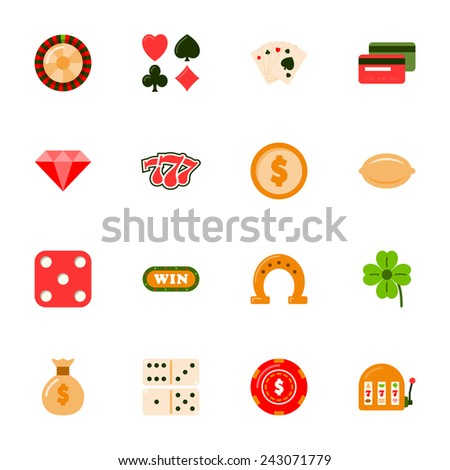 Casino flat icons set vector graphic illustration design - stock vector