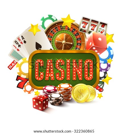 Casino frame with realistic gambling and game of fortune icons set vector illustration - stock vector