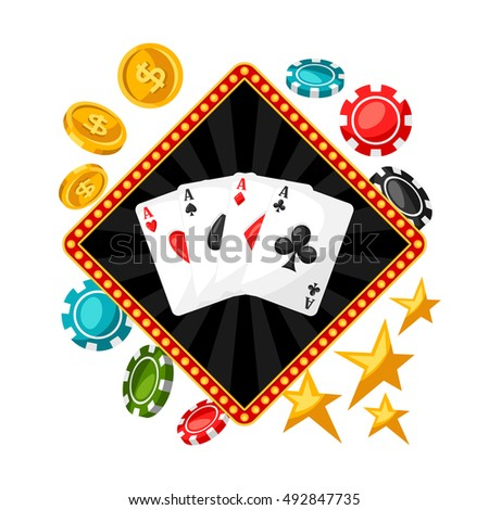 Casino gambling background or flyer with game objects.