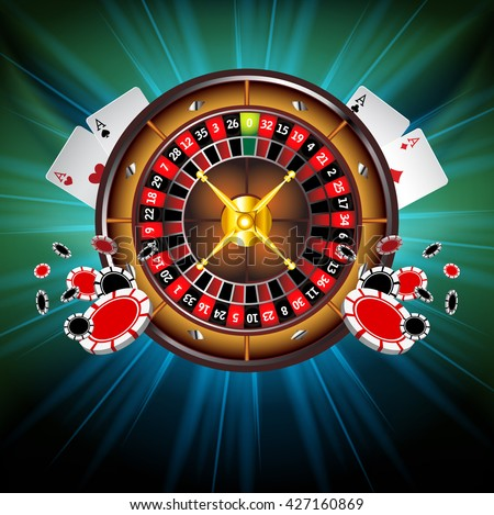 Casino Gambling background with Roulette Wheel and Casino Chips, Playing Cards. Poker chips. Vector illustration. Casino chips are flying to viewer.Glowing Casino design. Four Aces Poker Combination.