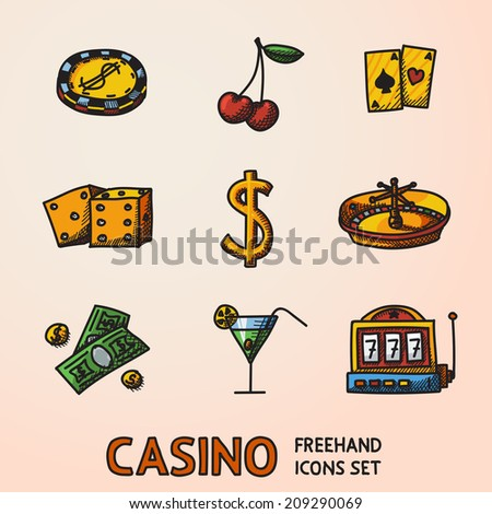 Casino (gambling) freehand color icons set with - dice, poker cards, chip, cherry, slot machine, roulette, martini drink, money, dollar sign. vector - stock vector