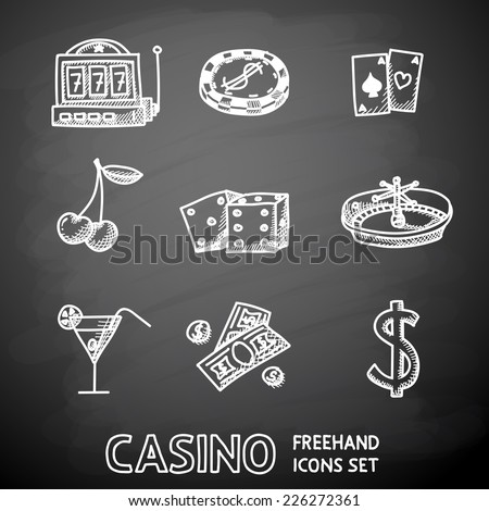 Casino (gambling) icons set painted on black chalkboard with - dice, poker cards, chip, cherry, slot machine, roulette, martini drink, money, dollar sign. vector - stock vector