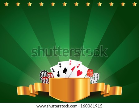 Casino green luxury horizontal background with golden label - stock vector