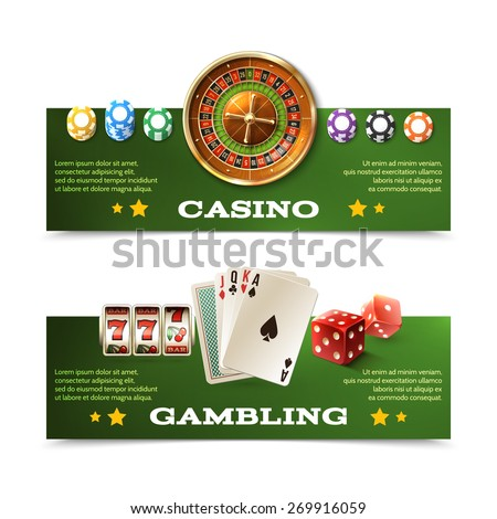 Casino horizontal banners set with realistic cards dice roulette and chips isolated vector illustration - stock vector