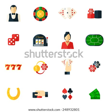 Casino icon flat set with roulette dice money isolated vector illustration - stock vector