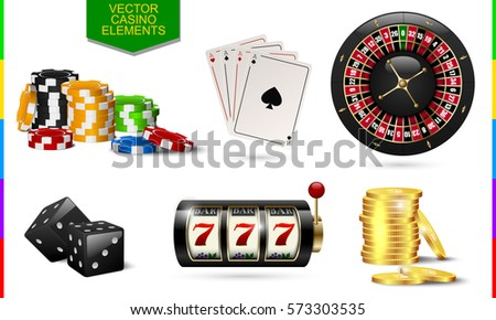 Casino icon isolated on white background. Chip, poker card, roulette, slot machine, coins money and black dice set