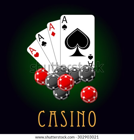 Casino icon or symbol with card and chips, on black background. For gambling, entertainment and leisure concept design - stock vector