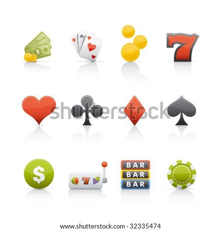 Casino Icon Set. - stock vector