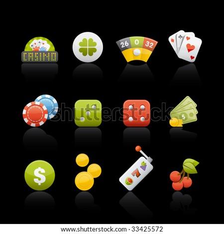 Casino Icon Set in Black. Vector in Adobe Illustrator EPS 8 for multiple applications. - stock vector