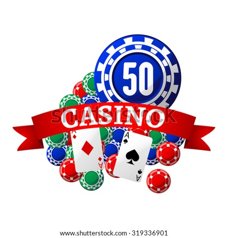 Casino icon with colorful gambling chips and playing cards, wrapped by red ribbon banner with text Casino  - stock vector