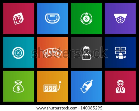 Casino icons in Metro style - stock vector