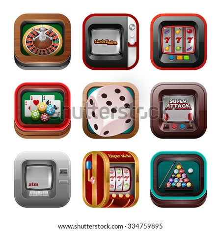 Casino icons set - gambling or poker. - stock vector