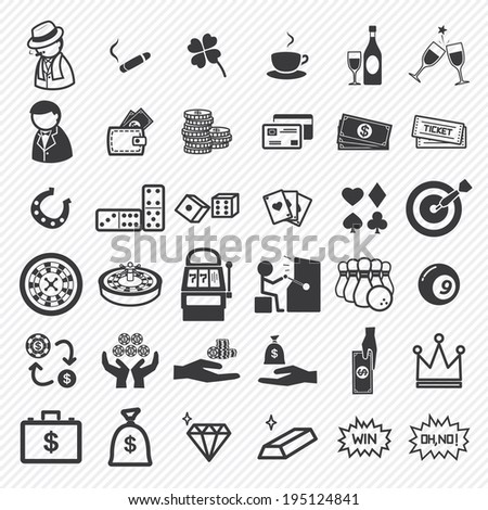 Casino icons set. illustration eps10 - stock vector