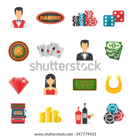 Casino icons set with cards money and luck symbols flat isolated vector illustration
