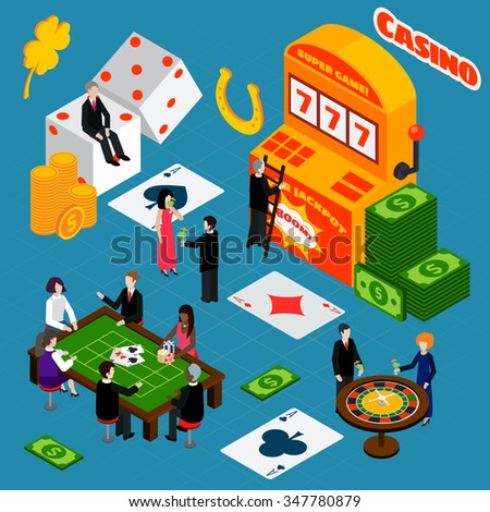 Casino interior luck symbols isometric banner with roulette wheel table and poker game players abstract vector illustration - stock vector