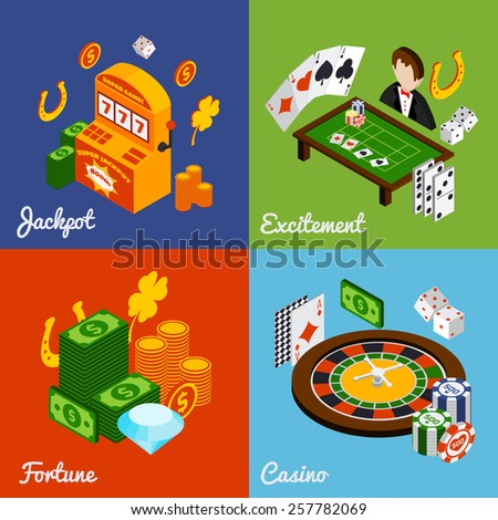 Casino isometric design concept set with jackpot excitement fortune icons isolated vector illustration - stock vector