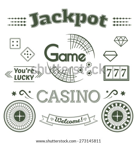 Casino logo and label set, typography design, game roulette vector illustration - stock vector
