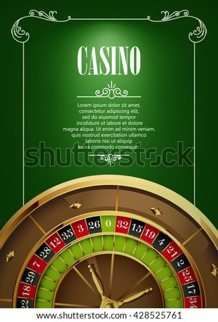Casino Logo Poster Background or Flyer with Roulette Wheel. Banner with Casino Logo Badges on Green Canvas. Game Cards. Playing Casino Games. Casino Banner. Casino Games Gambling Template background. - stock vector