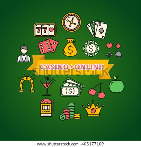 Casino Online Concept Poster on Green. Vector illustration