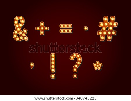 Casino or Broadway Signs style light bulb Special Symbols in Vector - stock vector