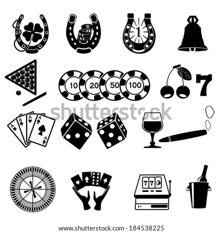 Casino Or Gambling Icons. - stock vector